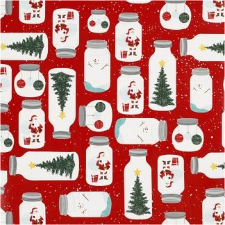 Gavepapir, ass. farver, jul på glas, B: 57 cm, 80 g, 150 m/ 1 rl.