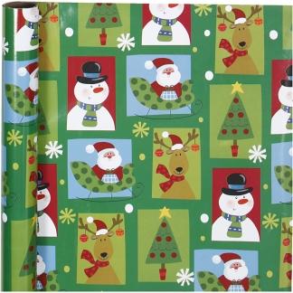 Gavepapir, firkantet jul, B: 70 cm, 80 g, 4 m/ 1 rl.