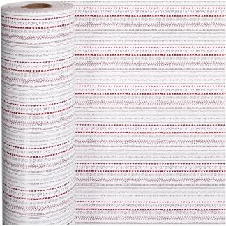Gavepapir, rød, hvid, doodles, B: 57 cm, 80 g, 150 m/ 1 rl.