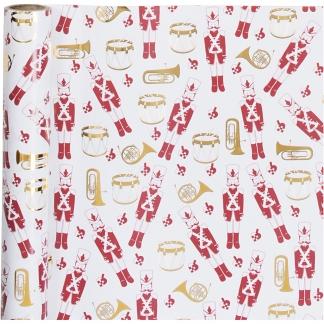 Gavepapir, guld, rød, hvid, nøddeknækker, B: 70 cm, 80 g, 2 m/ 1 rl.
