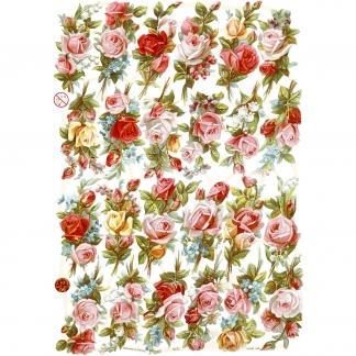 Glansbilleder, ark 16,5x23,5 cm, rosenbukettter, 3ark