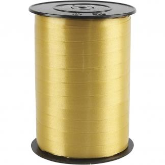 Gavebånd, B: 10 mm, guld , blank, 250m
