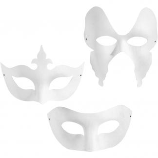 Masker, harlekin, H: 10-20 cm, B: 18-20 cm, hvid, 12stk.