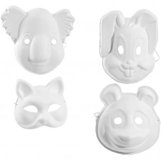 Masker, dyr, H: 17-25 cm, B: 18-24 cm, hvid, 12stk.