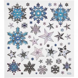 Fancy stickers, ark 15x16,5 cm, ca. 48 stk., Snekrystaller, 1ark
