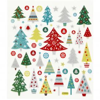 Stickers, ark 15x16,5 cm, ca. 63 stk., juletræ, 1ark