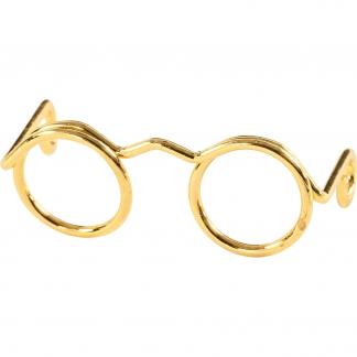 Briller, B: 25 mm, indv. mål 9 mm, guld, 10stk.