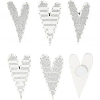 Stickers, str. 25x45 mm, aflange hjerter, 8stk.