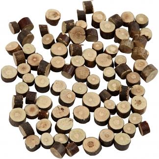 Træskiver, diam. 7-10 mm, tykkelse 4-5 mm, 230g