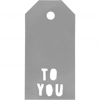 Manilamærker, str. 5x10 cm, 300 g, sølv, TO YOU, 15stk.