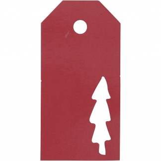 Manilamærker, str. 5x10 cm, 300 g, rød, Juletræ, 15stk.