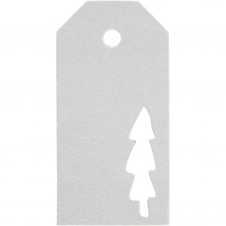 Manilamærker, str. 5x10 cm, 300 g, sølv, Juletræ, 15stk.