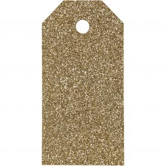 Manilamærker, str. 5x10 cm, 300 g, guld, glitter, 15stk.