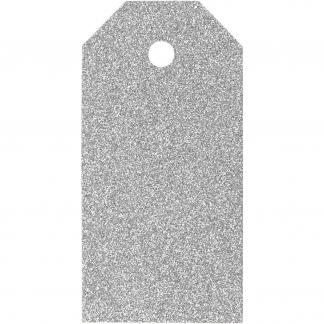 Manilamærker, str. 5x10 cm, 300 g, sølv, glitter, 15stk.