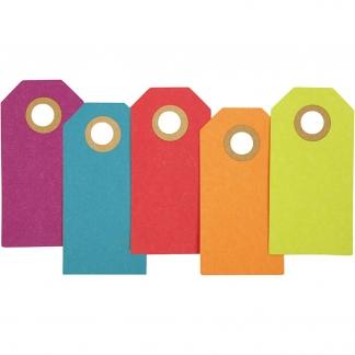 Manilamærker, str. 3x6 cm, 250 g, ass. farver, 30stk.