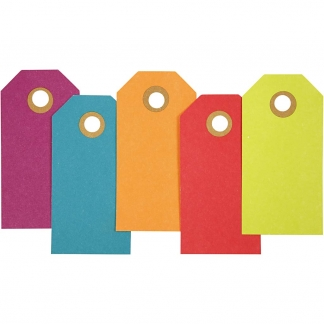 Manilamærker, str. 4x8 cm, 250 g, ass. farver, 20stk.