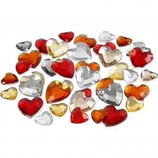 Rhinsten, str. 6+10+14 mm, rød harmoni, hjerter, 252stk.