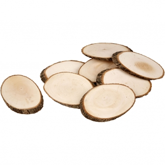 Træskiver, ca. 11x7,5 cm, tykkelse 8 mm, 12stk.