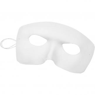 Maske, harlekin, H: 12 cm, B: 17 cm, hvid, 12stk.