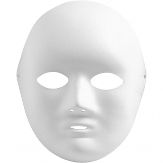 Helmaske, hvid, H: 22 cm, B: 17 cm, 10 stk./ 1 pk.