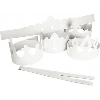 Kroner, hvid, H: 10-16,5 cm, L: 60 cm, 230 g, 5 stk./ 1 pk.