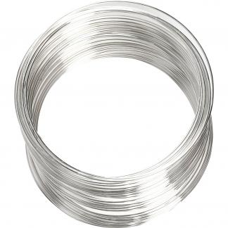 Memory wire, forsølvet, diam. 6 cm, tykkelse 0,8 mm, 1 stk.