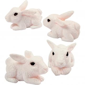 Minifigurer, H: 10 mm, kaniner, 4stk.