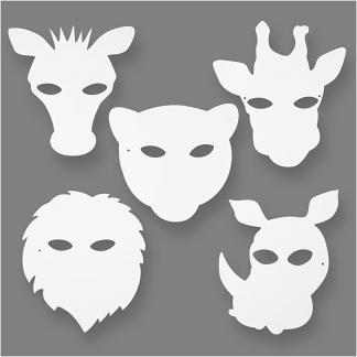 Junglemasker, hvid, H: 22,5-25 cm, B: 20,5-22,5 cm, 230 g, 16 stk./ 1 pk.