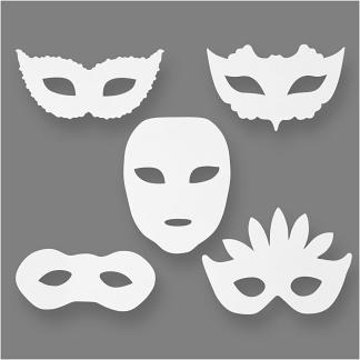 Teatermasker, hvid, H: 8,5-19 cm, B: 15-20,5 cm, 230 g, 16 stk./ 1 pk.